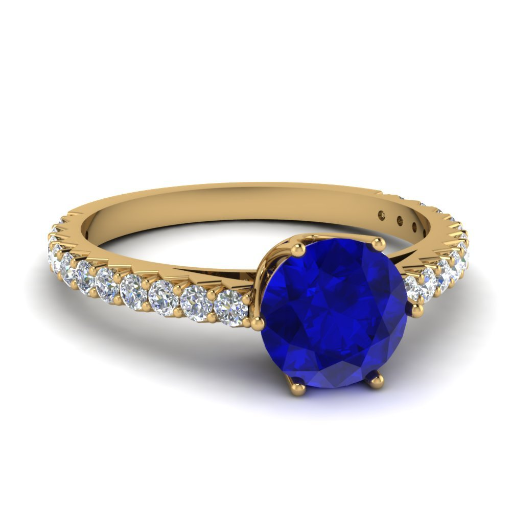 Crown Sapphire Diamond Engagement Ring In 14K Yellow Gold