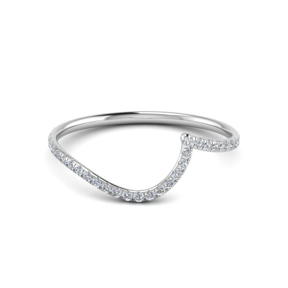 Curved Band With Gemstone In 18K White Gold