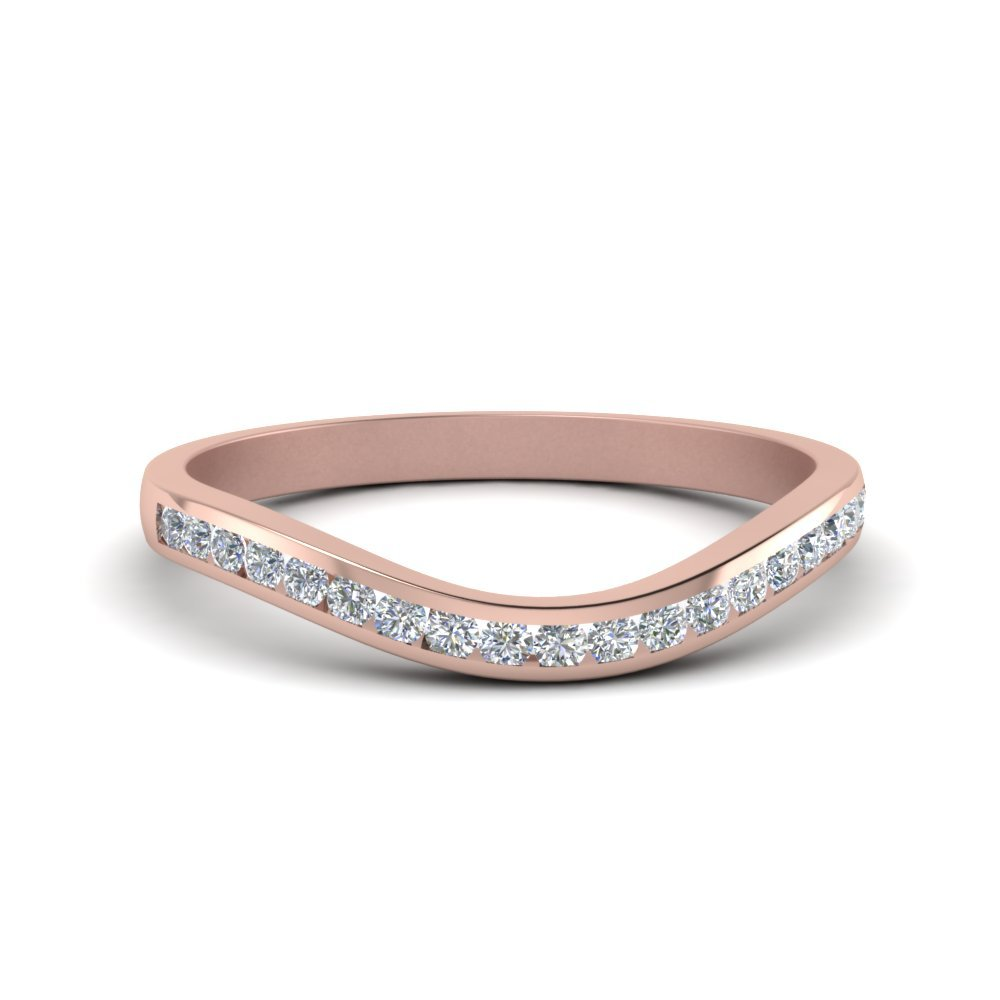 Curved Channel Diamond Band In 14K Rose Gold