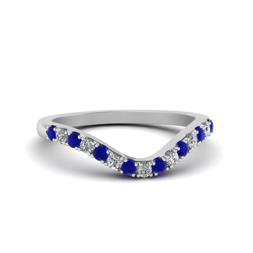 Curved Delicate Diamond & Sapphire Band