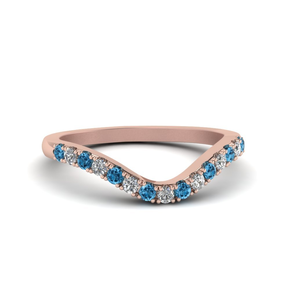 Blue Topaz Curved Diamond Band