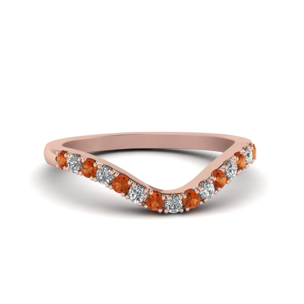 Curved Orange Sapphire Band