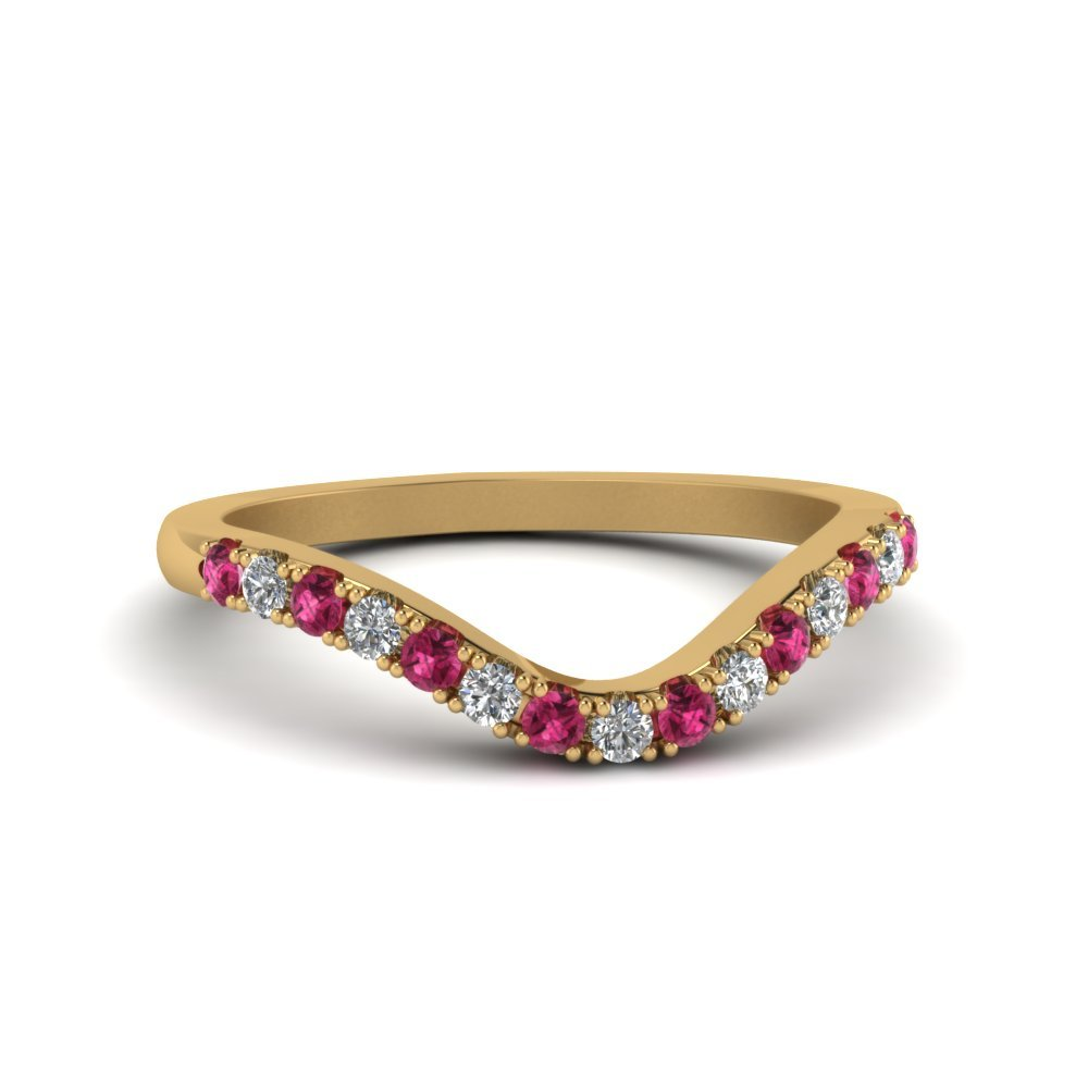 Pink Sapphire Curved Delicate Diamond Band