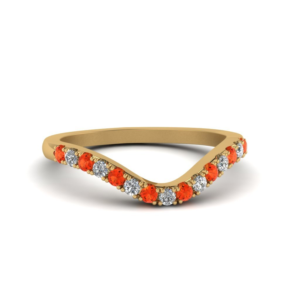Orange Topaz 14k Yellow Gold Curved Band