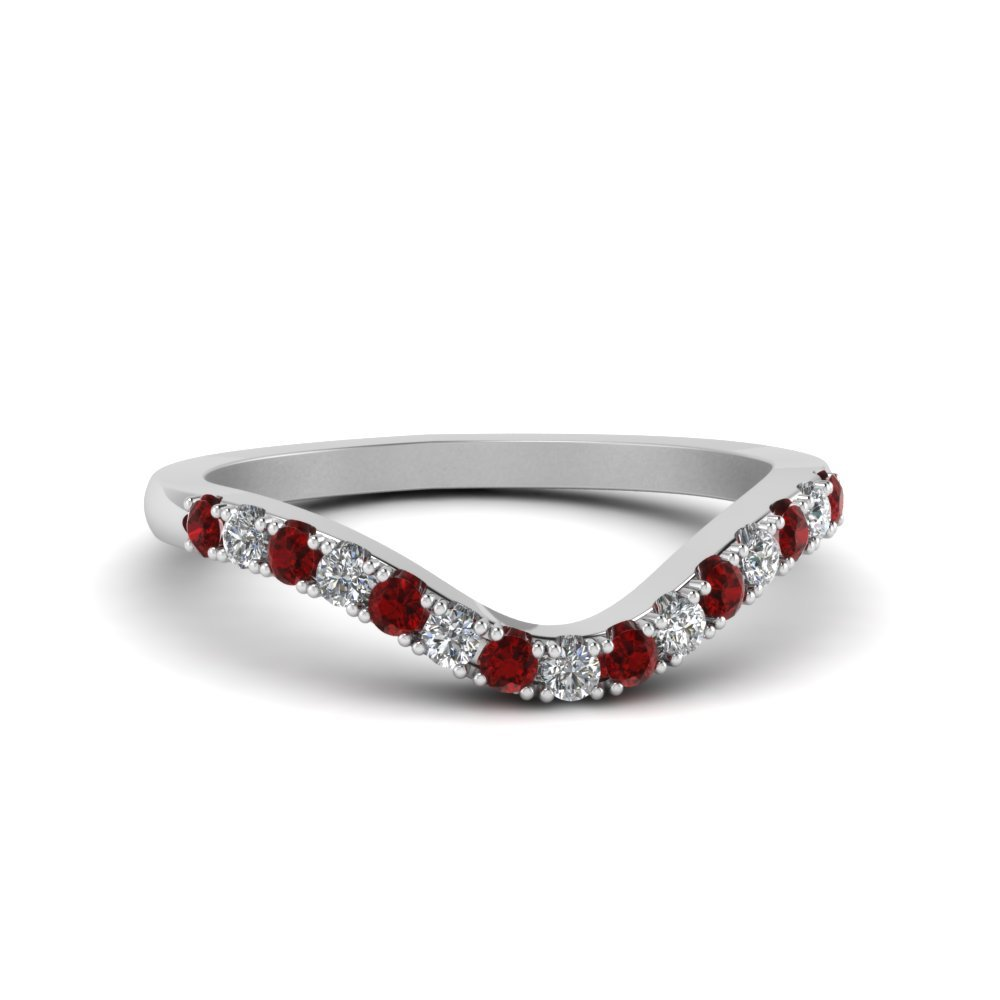 18k White Gold Ruby Diamond Band