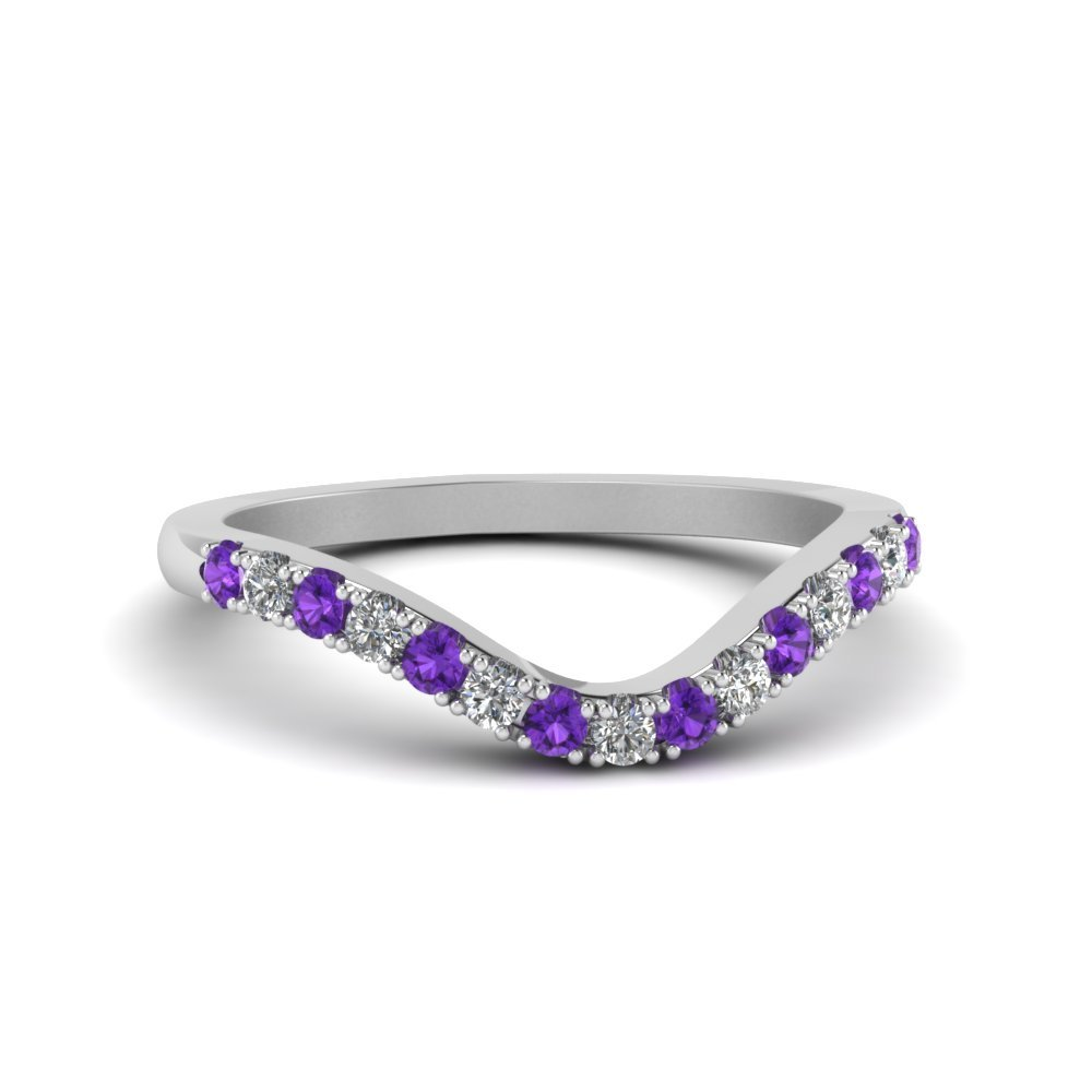 Curved Delicate Diamond Violet Band