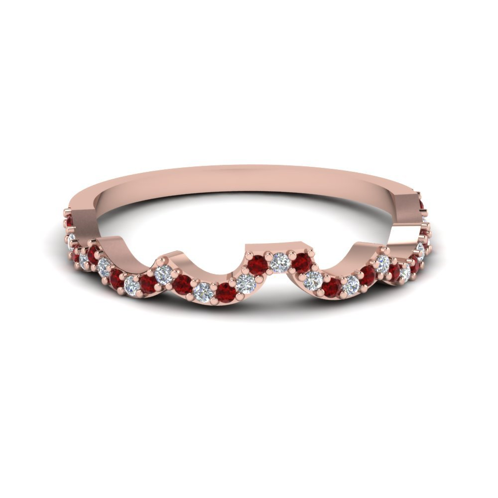 Curved Diamond Wedding Band For Women With Ruby In 14K Rose Gold
