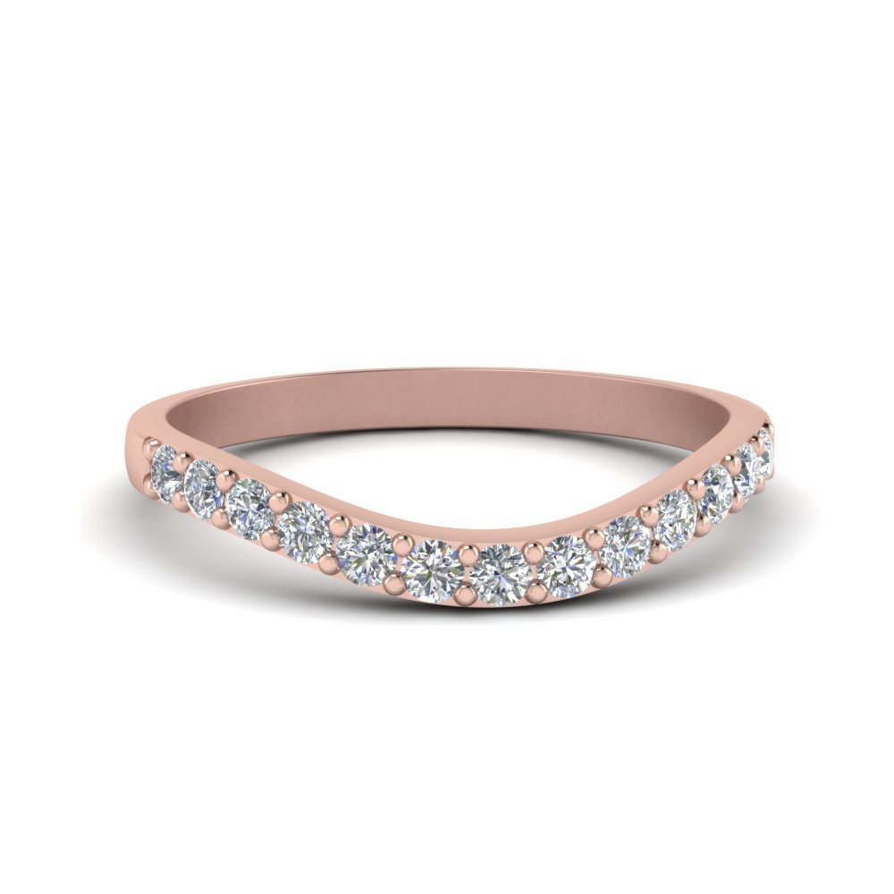 Curved Diamond Wedding Ring For Women In 14K Rose Gold