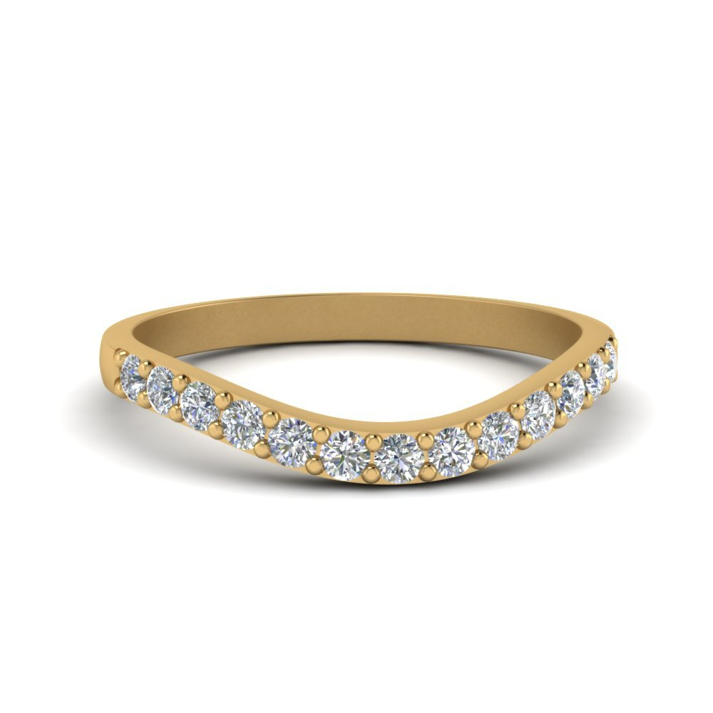 Curved Diamond Wedding Ring For Women In 14K Yellow Gold