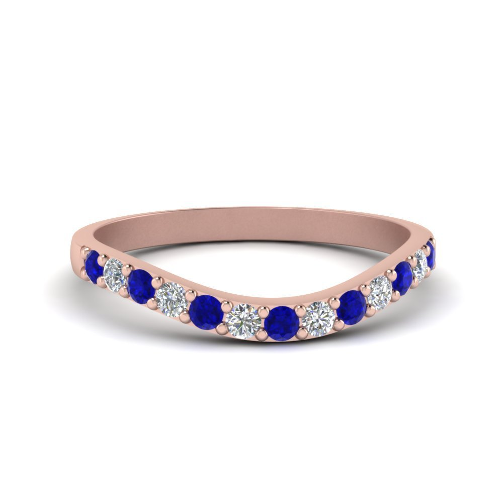 Curved Diamond Wedding Ring For Women With Blue Sapphire In 14K Rose Gold