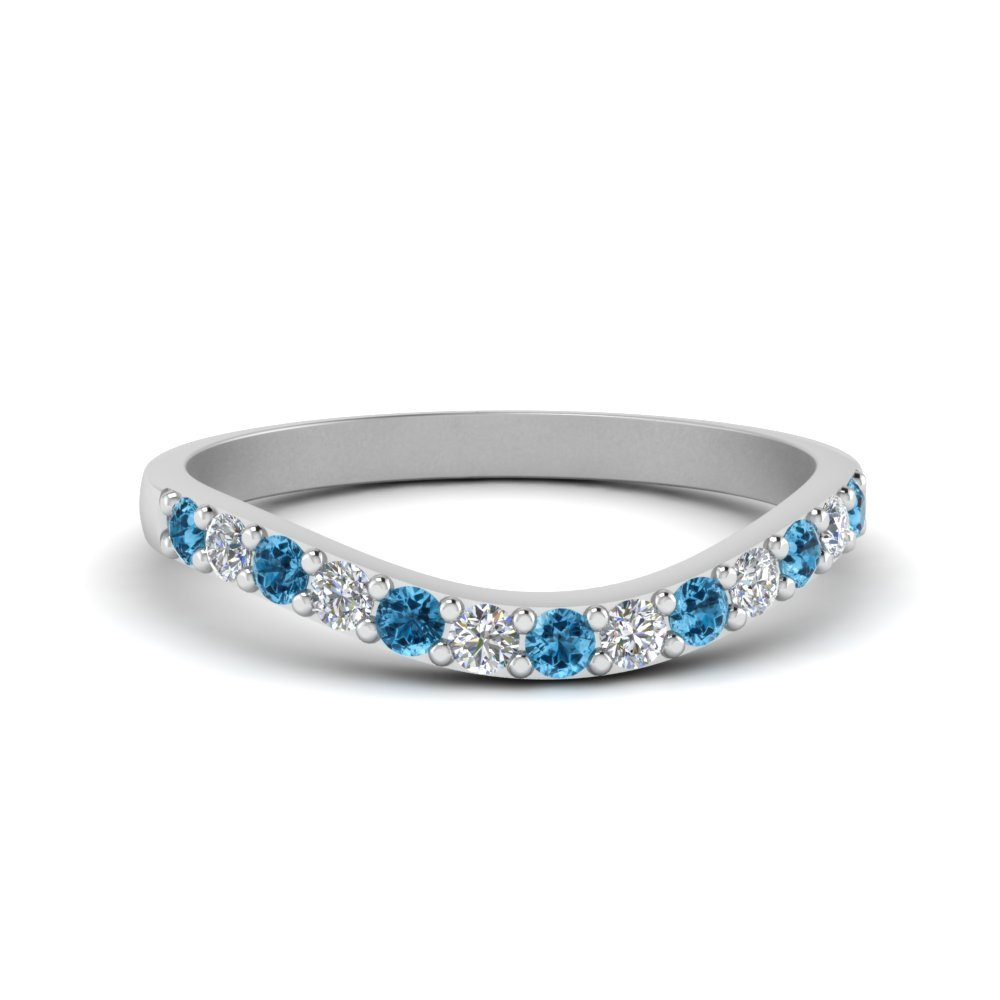 Curved Diamond Wedding Ring For Women With Blue Topaz In 950 Platinum