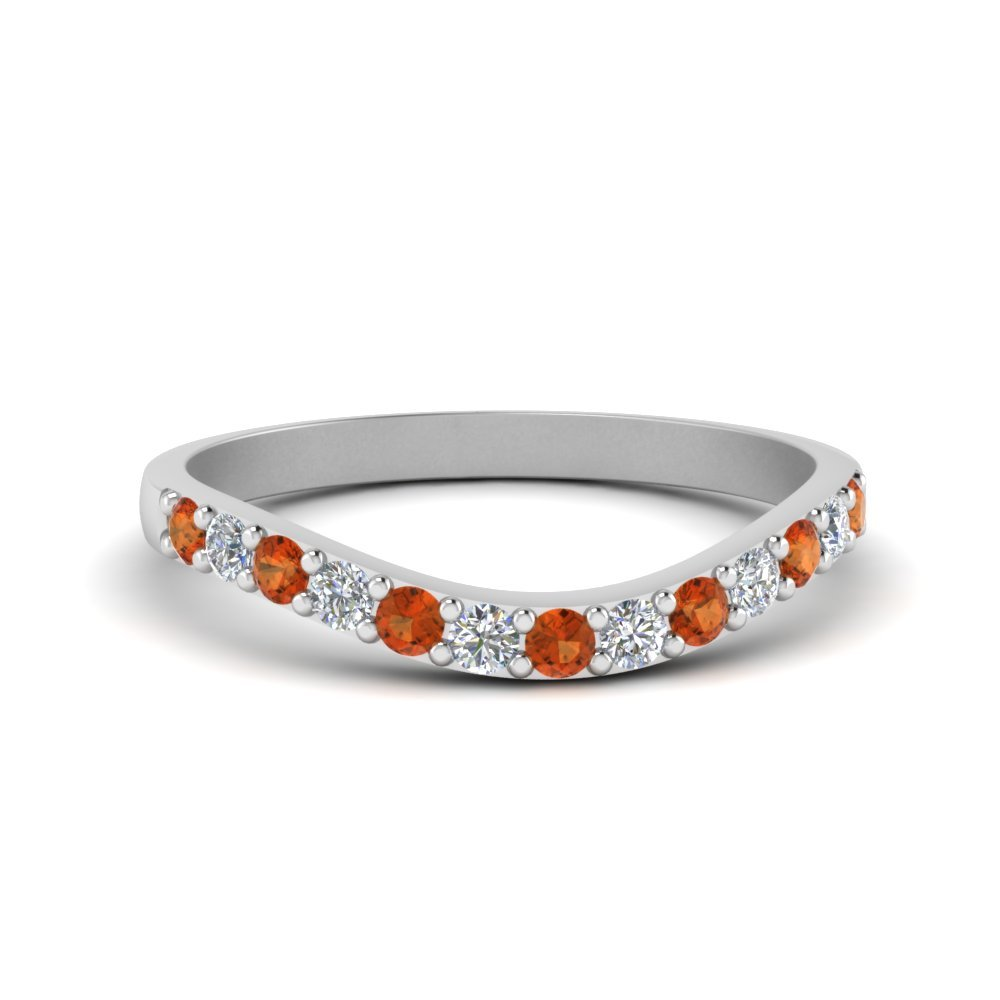 Curved Diamond Wedding Ring For Women With Orange Sapphire In 14K White Gold