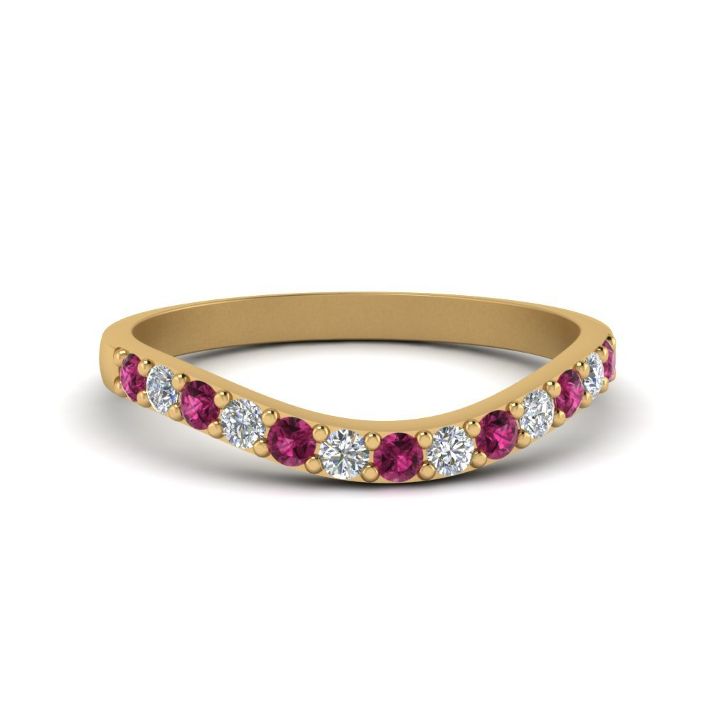 Curved Diamond Wedding Ring For Women With Pink Sapphire In 14K Yellow Gold