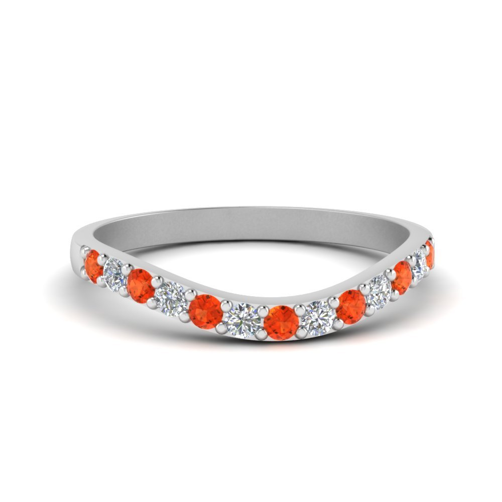 Curved Diamond Wedding Ring For Women With Poppy Topaz In 14K White Gold