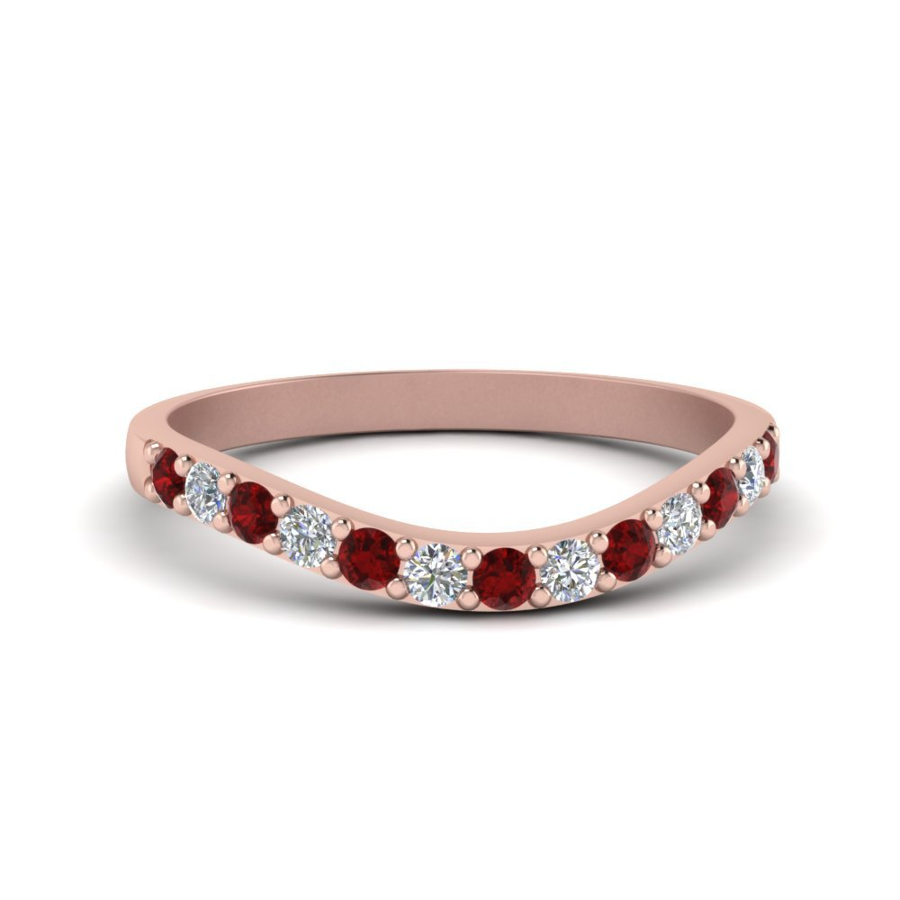 Curved Diamond Wedding Ring For Women With Ruby In 18K Rose Gold