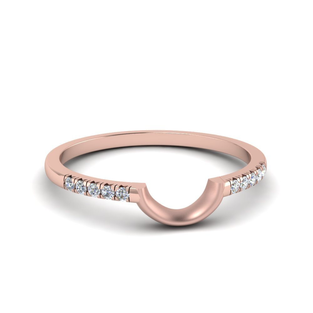 Curved French Pave Diamond Band In 18K Rose Gold