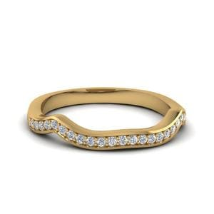 Curved Pave Diamond Custom Wedding Band In 14K Yellow Gold