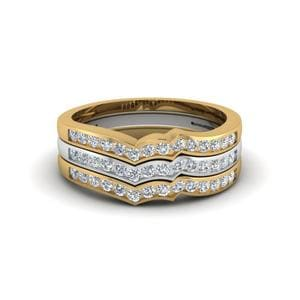 Curved Multi Gold Stackable Band