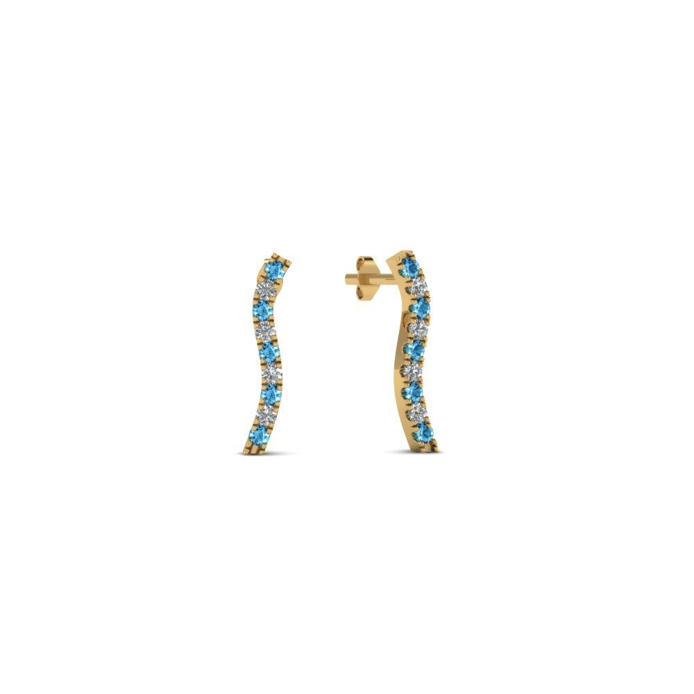 Curved Topaz Stud Earring For Women
