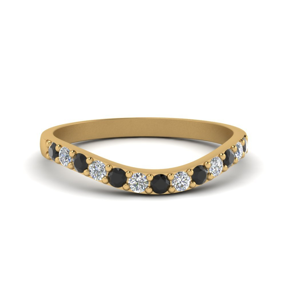 Curved Wedding Ring For Women With Black Diamond In 18K Yellow Gold
