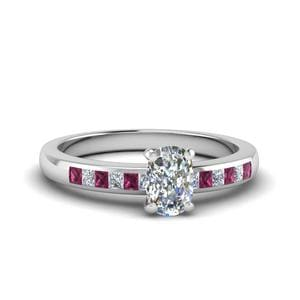 Cushion Channel Princess Cut Diamond Enagagement Ring With Pink Sapphire In 14K White Gold