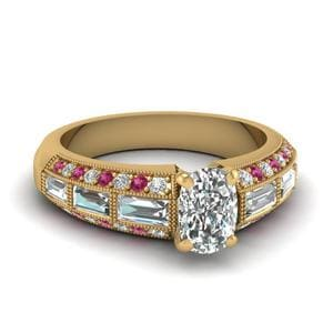 Antique Baguette Cushion Diamond Engagement Ring With Pink Sapphire In 14K Yellow Gold