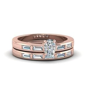Cushion Cut Bar Baguette Diamond Simple Wedding Ring Set In 18K Rose Gold