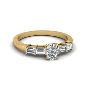 Cushion Cut Basket Prong Baguette Diamond Engagement Ring In 14K Yellow Gold