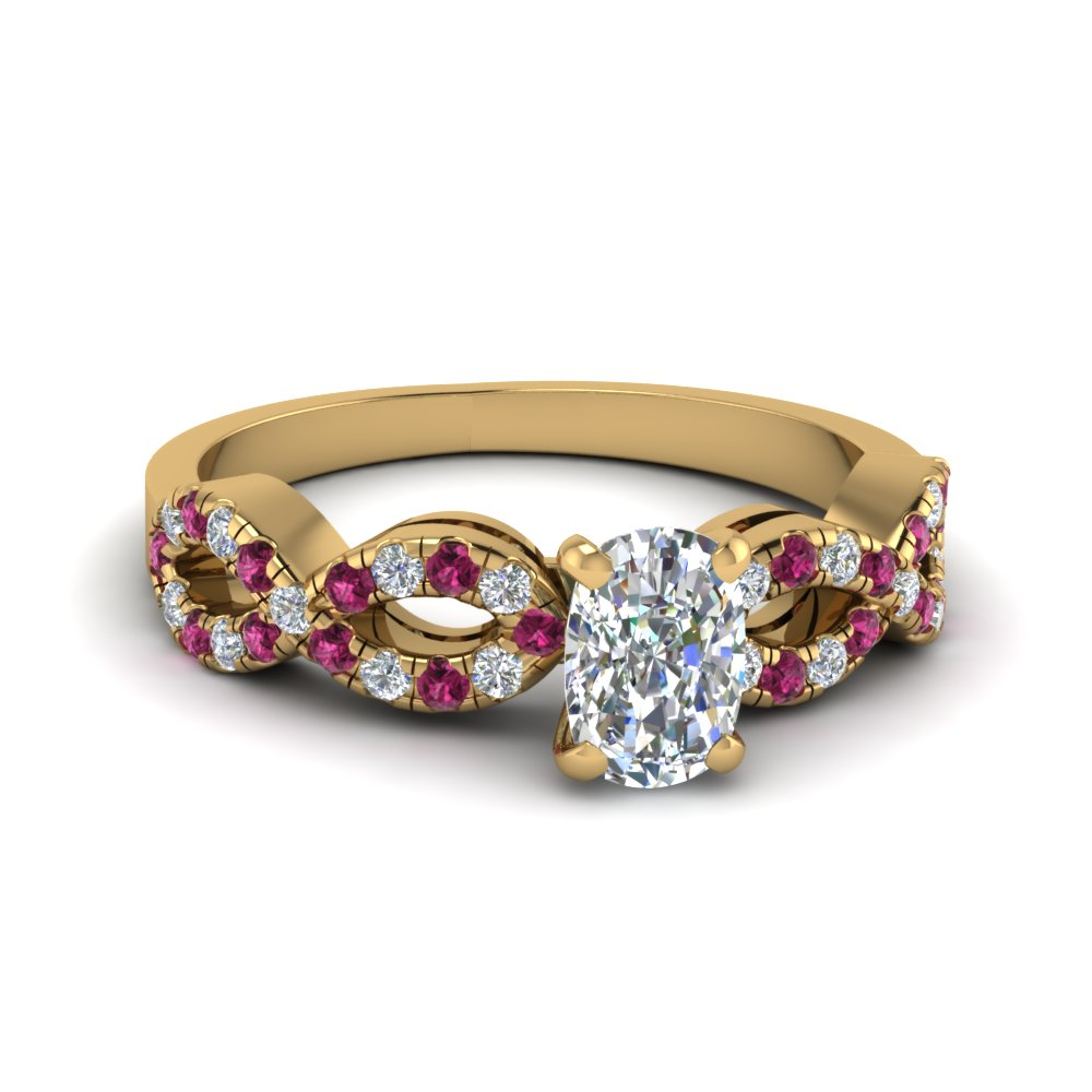 Cushion Cut Braided Diamond Engagement Ring With Pink Sapphire In 14K Yellow Gold