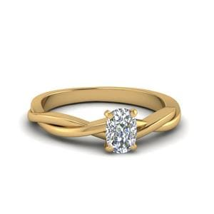 Cushion Cut Braided Single Diamond Engagement Ring In 14K Yellow Gold