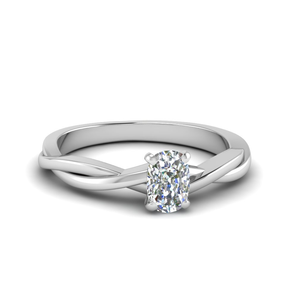 Cushion Cut Braided Single Diamond Engagement Ring In 18K White Gold