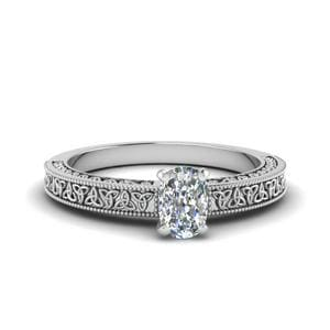 Cushion Cut Celtic Engraved Solitaire Engagement Ring In 14K White Gold