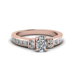 Cushion Cut Channel Bar Set Diamond Engagement Ring For Women In 14K Rose Gold