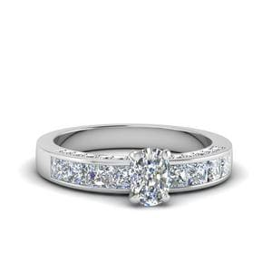 Cushion Cut Channel Diamond Engagement Ring In 14K White Gold