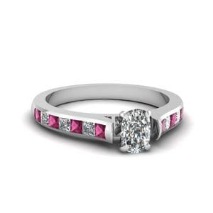 Cushion Cut Cathedral Channel Set Diamond Engagement Ring With Pink Sapphire In 14K White Gold