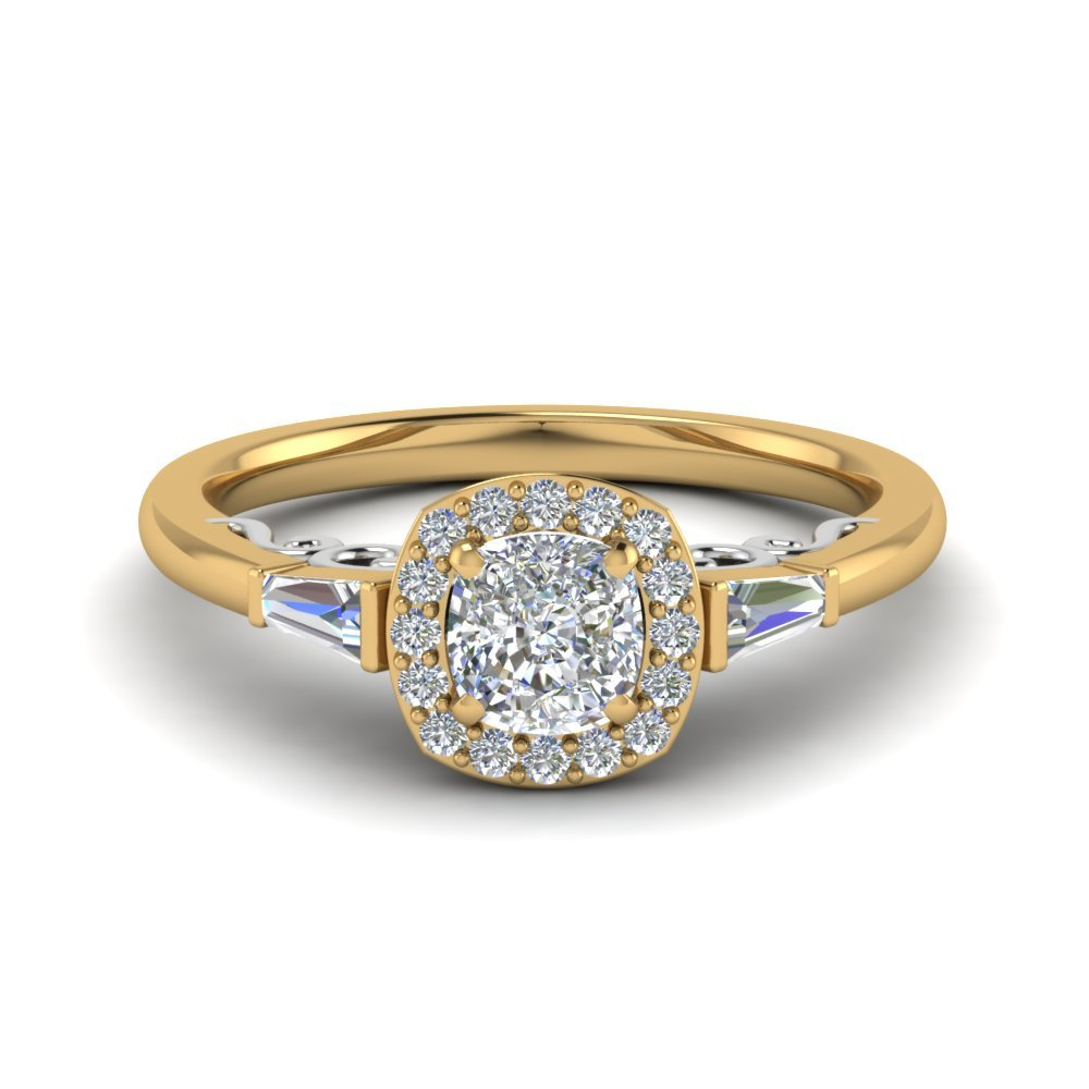 Cushion Cut Delicate Diamond Halo Engagement Ring In 14K Yellow Gold