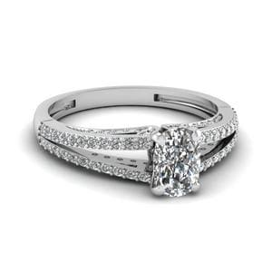 Cushion Cut Delicate Split Shank Diamond Engagement Ring In 14K White Gold