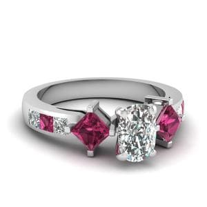 Princess Accent 3 Stone Ring