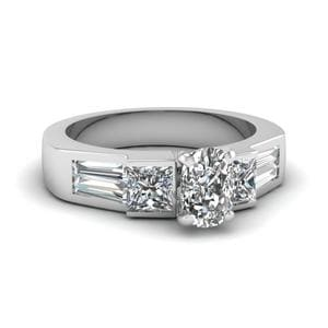 Art Deco Cushion Diamond Engagement Ring In 14K White Gold
