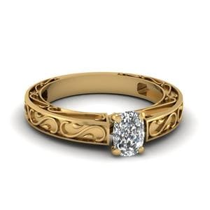 Carved Cushion Diamond Solitaire Engagement Ring In 14K Yellow Gold