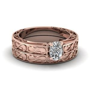Carved Cushion Diamond Solitaire Wedding Ring Set In 14K Rose Gold
