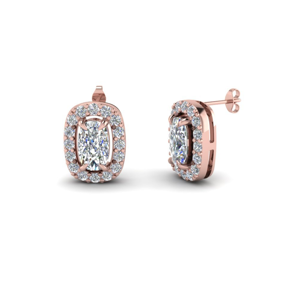Cushion Cut Diamond Corona Stud Earrings In 14K Rose Gold