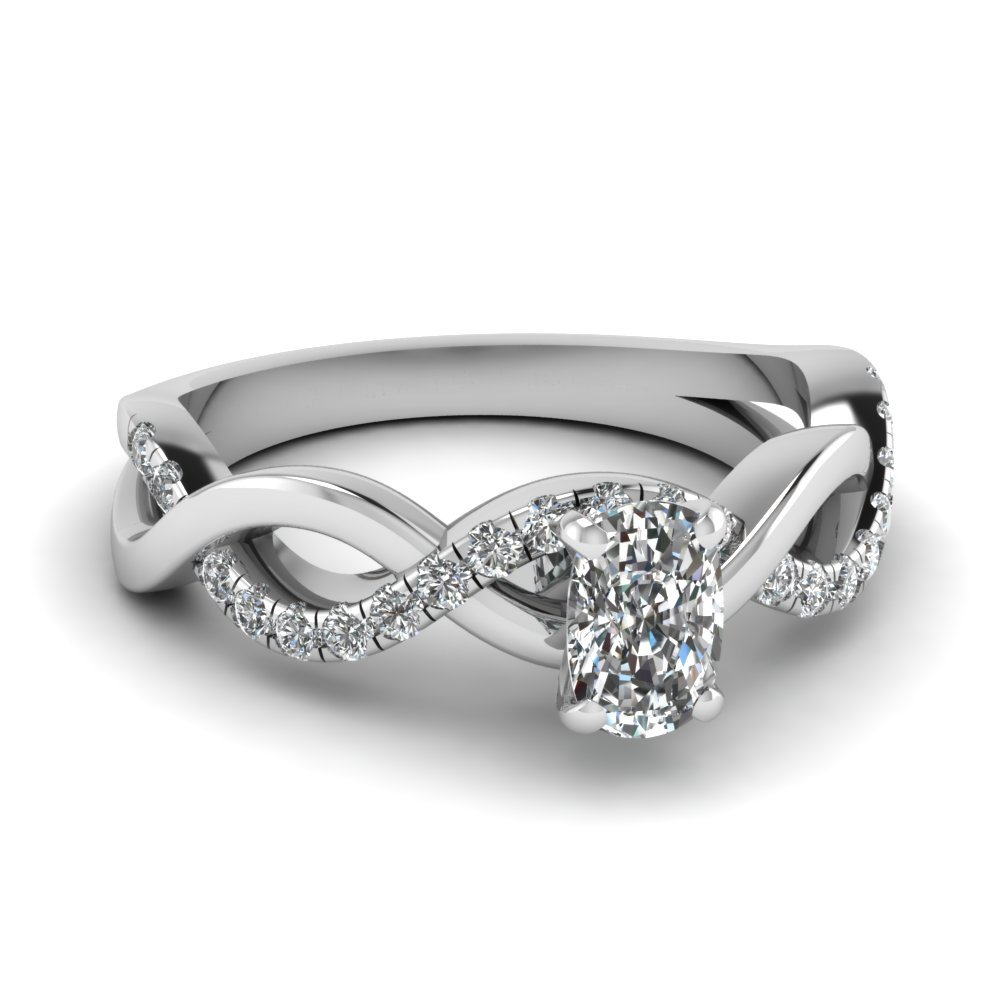 Cushion Diamond Infinity Symbol Ring