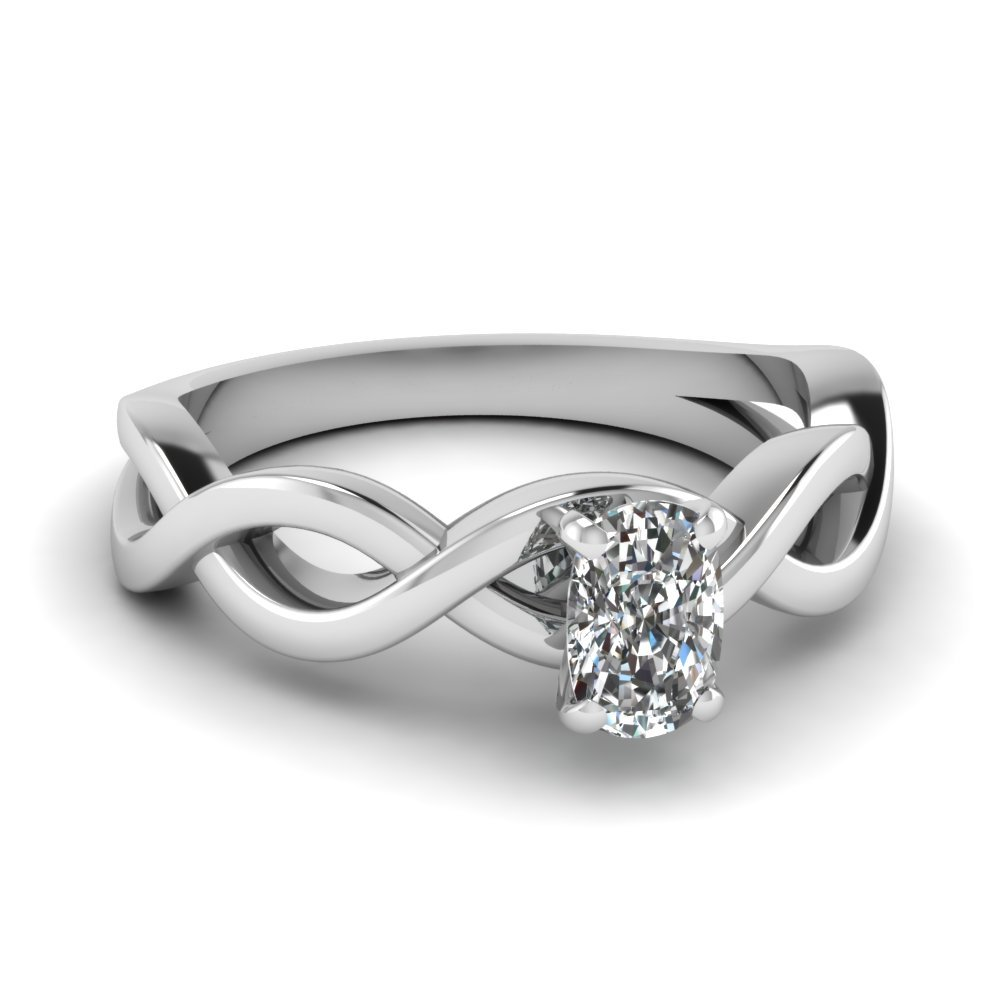 Infinity Cushion Diamond Solitaire Engagement Ring In 14K White Gold
