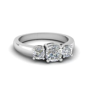 Classic Cushion Cut 3 Stone Ring