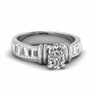 Cushion Diamond Baguette Wedding Ring