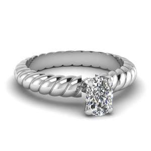 Rope Solitaire Cushion Cut Ring