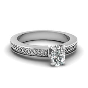 Weaved Design Cushion Cut Solitaire Engagement Ring In 14K White Gold
