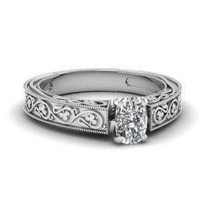 Vintage Cushion Solitaire Diamond Ring In 14K White Gold