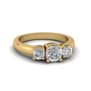 Cushion Cut Diamond Engagement Ring In 14K Yellow Gold